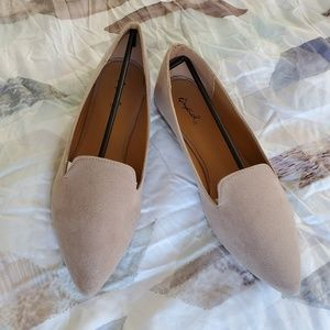 Taupe faux suede flats